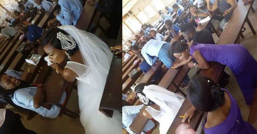 Nigerian 300 level student goes to her examination hall in wedding gown as her wedding clashes with her exam (photos)